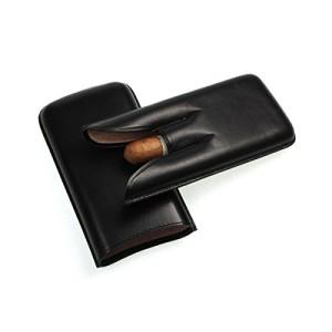 Lucrin - 3er Zigarrenetui - Schwarz - Glattleder3